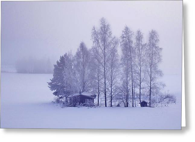 Hunting Cabin Greeting Cards - Winter Cabin In The Woods Greeting Card by Movie Poster Prints