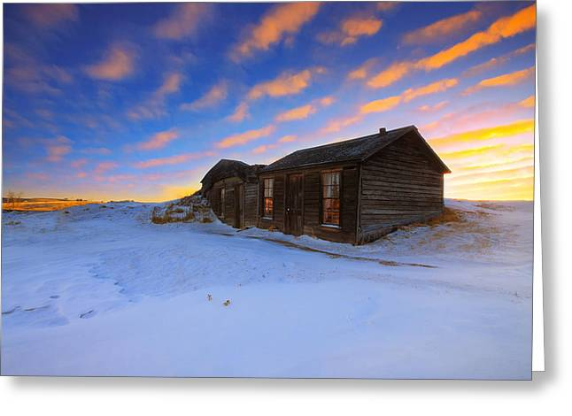 Abandoned House Greeting Cards - Winter Cabin  Greeting Card by Kadek Susanto