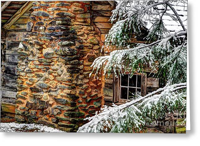 Log Cabins Greeting Cards - Winter Cabin Greeting Card by Michael Eingle