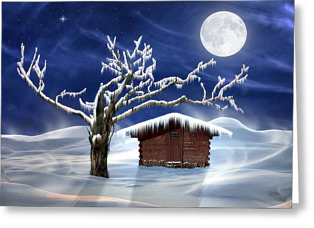 Nature Scene With Moon Digital Art Greeting Cards - Winter Cabin Greeting Card by Nina Bradica