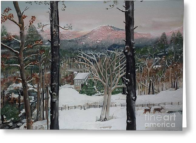 Little Cabin Greeting Cards - Winter - Cabin - Pink Knob Greeting Card by Jan Dappen