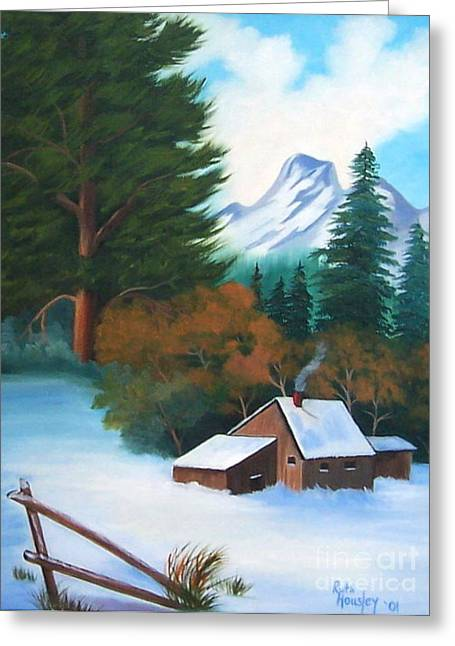 Stretched Cotton Canvas Greeting Cards - Winter Cabin Greeting Card by Ruth  Housley