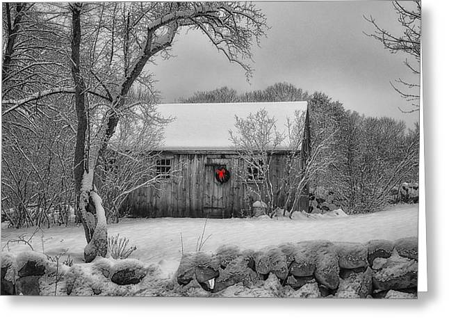 Sheds Greeting Cards - Winter Cabin Greeting Card by Tricia Marchlik