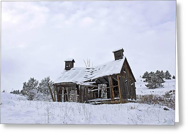 Log Cabin Art Digital Art Greeting Cards - Winter Cabin Greeting Card by Xposed Bydesign