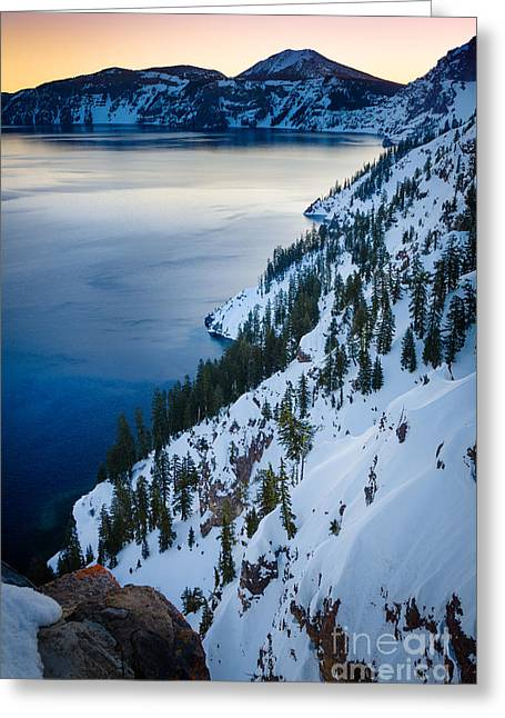 Crater Lake Greeting Cards - Winter Caldera Greeting Card by Inge Johnsson