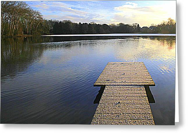 Wooden Platform Greeting Cards - Winter calm Greeting Card by Geoff Ford