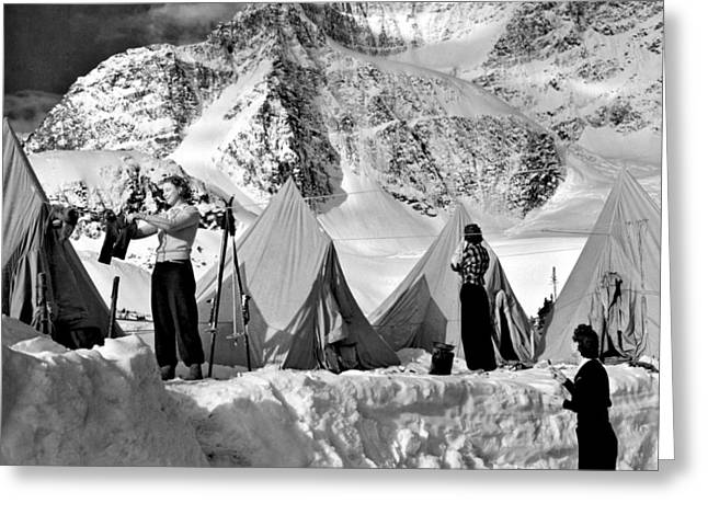 Eremites Greeting Cards - Winter Camping Greeting Card by Underwood Archives