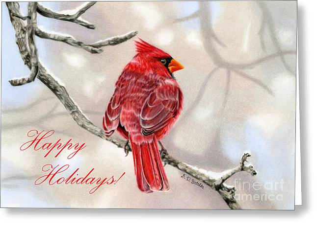 Bird On Tree Greeting Cards - Winter Cardinal- Happy Holidays Greeting Card by Sarah Batalka