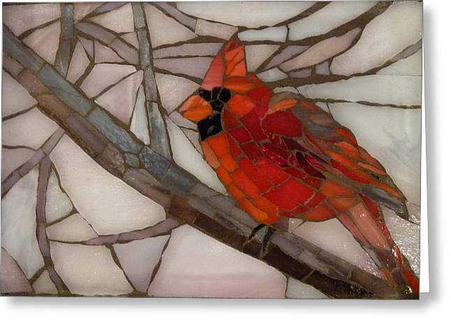 Birds Glass Art Greeting Cards - Winter Cardinal Greeting Card by Julie Mazzoni