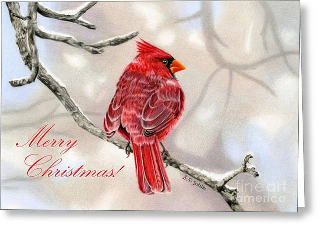 Bird On Tree Greeting Cards - Winter Cardinal- Merry Christmas Greeting Card by Sarah Batalka