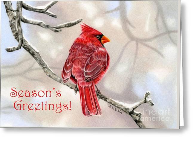 Winter Cardinal- Seaon's Greetings Cards Greeting Card by Sarah Batalka