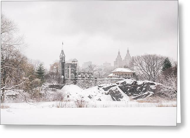New York City Greeting Cards - Winter Castle - Central Park - New York City Greeting Card by Vivienne Gucwa