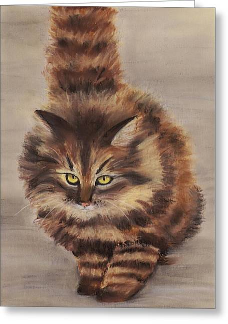Wall Pastels Greeting Cards - Winter Cat Greeting Card by Anastasiya Malakhova
