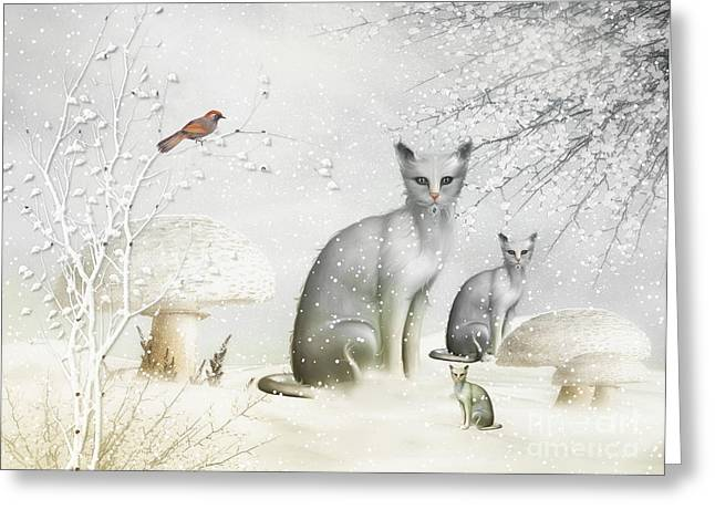 Toadstools Mixed Media Greeting Cards - Winter Cats Greeting Card by Elaine Manley