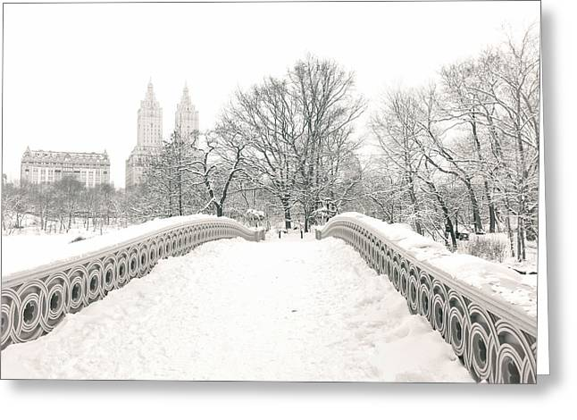 New York City Greeting Cards - Winter - Central Park - Bow Bridge - New York City Greeting Card by Vivienne Gucwa