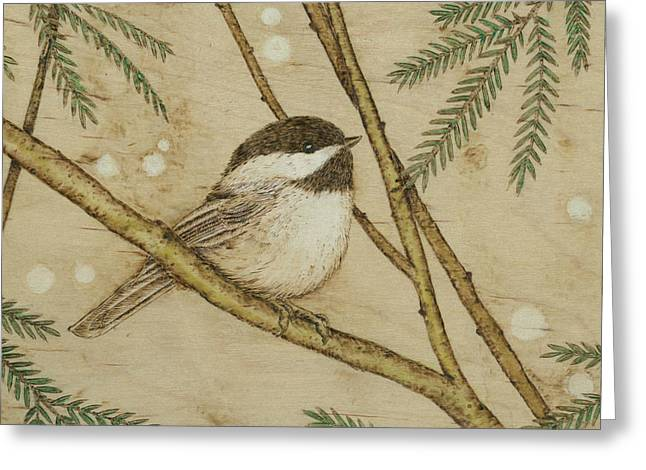 Snow Capped Pyrography Greeting Cards - Winter Chickadee Greeting Card by Jason Gianfriddo