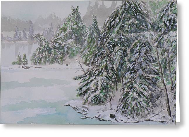 Winter Chill St Lawrence River Greeting Card by Robert P Hedden