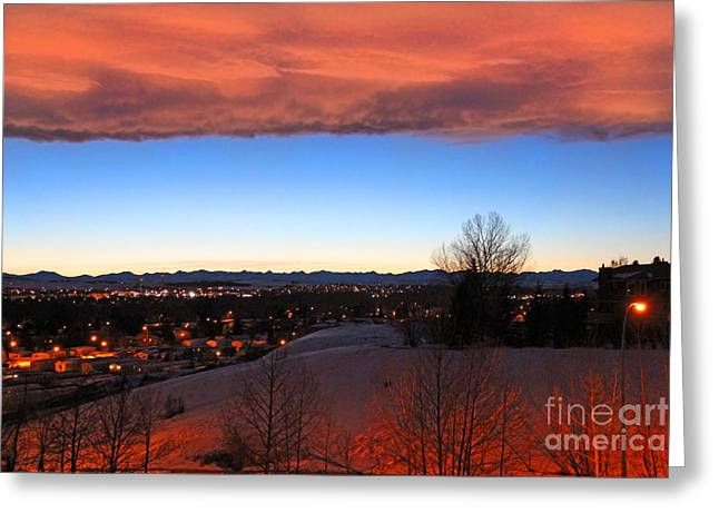 Winter Photos Greeting Cards - Winter Chinook Sunset Over The Rocky Mountains Greeting Card by Al Bourassa