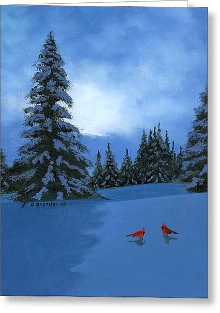 Snowy Night Night Greeting Cards - Winter Christmas Card 2012 Greeting Card by Cecilia  Brendel