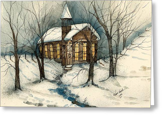 Skiing Art Cards Greeting Cards - Winter Church  Greeting Card by Anna Sandhu Ray