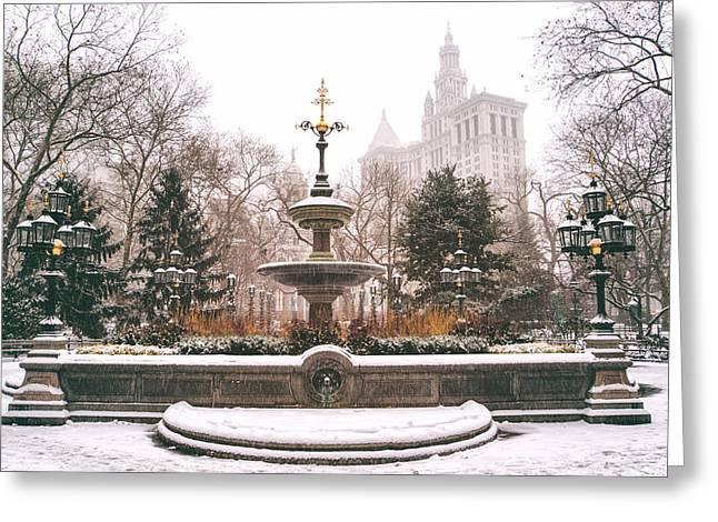 City Hall Photographs Greeting Cards - Winter - City Hall Fountain - New York City Greeting Card by Vivienne Gucwa
