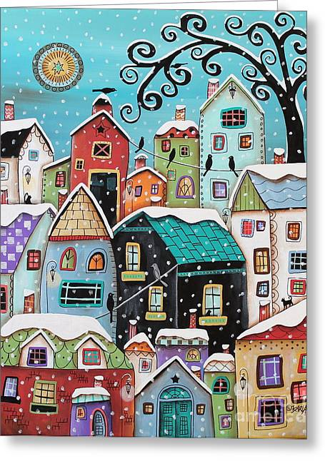 Primitives Greeting Cards - Winter City Greeting Card by Karla Gerard