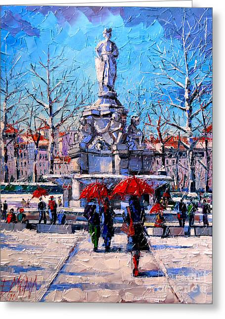 Winter City Scene - The Square  Marshal Lyautey In Lyon - France Greeting Card by Mona Edulesco