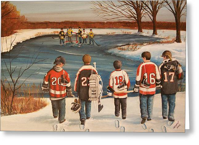 Youth Hockey Paintings Greeting Cards - Winter Classic - 2010 Greeting Card by Ron  Genest