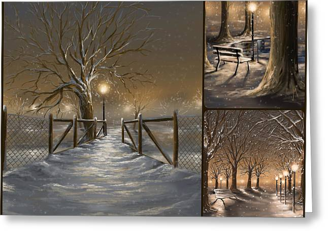 Winter Landscape Digital Greeting Cards - Winter collage Greeting Card by Veronica Minozzi