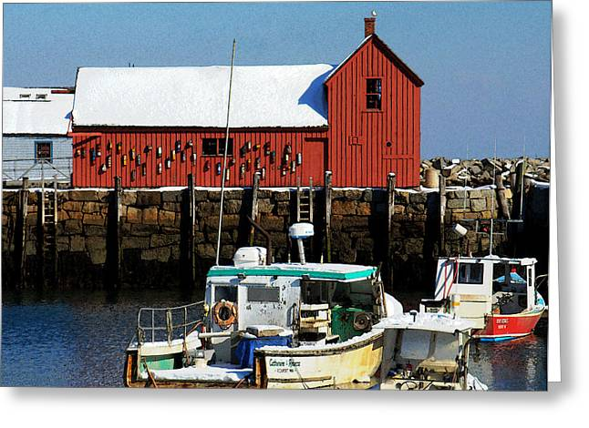 Boats In Harbor Greeting Cards - Winter Comes to Rockport 2 Greeting Card by Caroline Stella