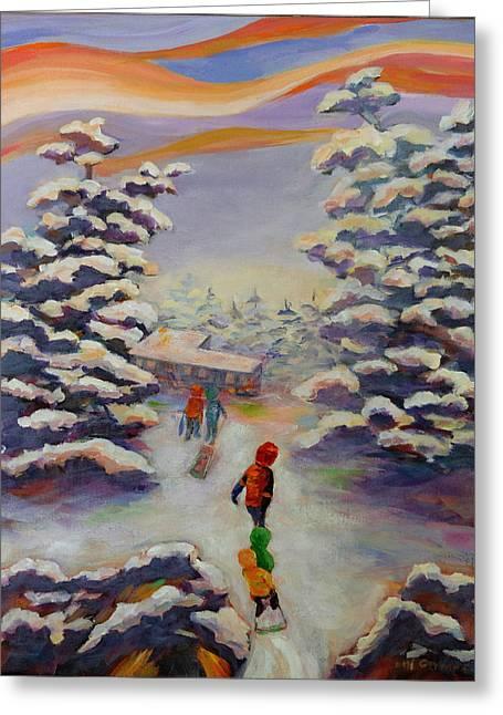 Tobogganing Greeting Cards - Winter Comfort Greeting Card by Naomi Gerrard