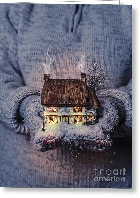 Snowy Night Greeting Cards - Winter Cottage At Night Greeting Card by Amanda And Christopher Elwell