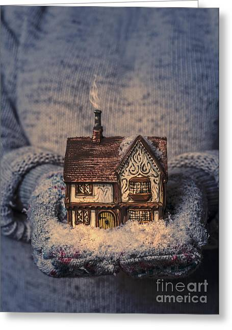 Winter Night Greeting Cards - Winter Cottage Greeting Card by Amanda And Christopher Elwell