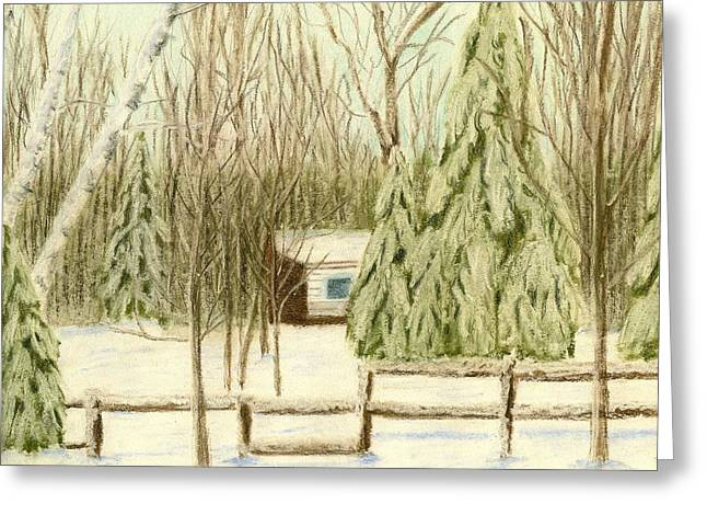 Shack Pastels Greeting Cards - Winter Cottage Greeting Card by Jay Johnston