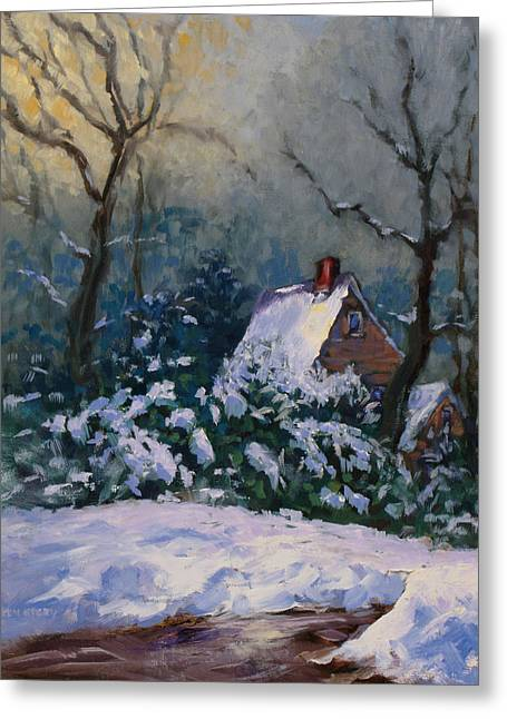 Winter Cottage Greeting Card by Ken Fiery