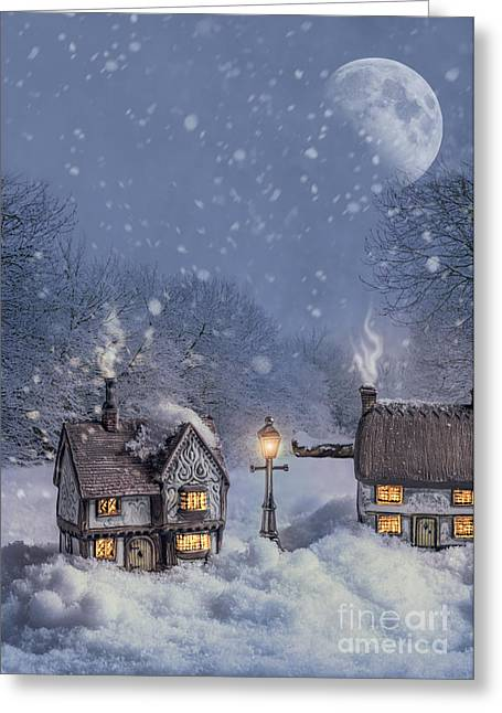 Snowy Evening Greeting Cards - Winter Cottages Greeting Card by Amanda And Christopher Elwell