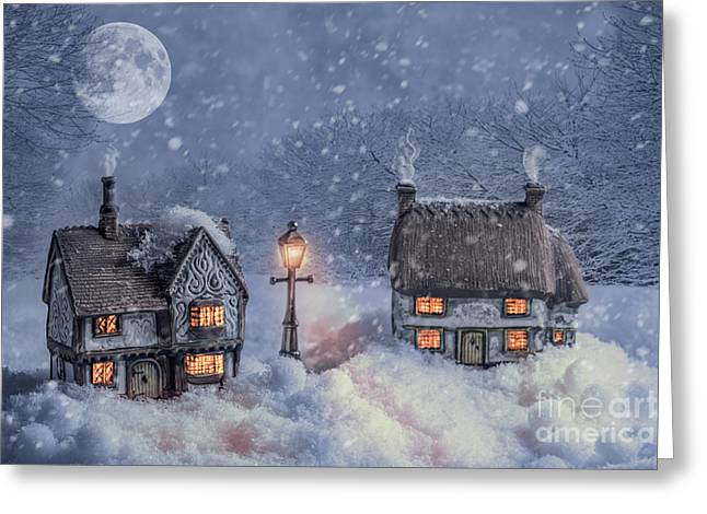 Christmas Doors Greeting Cards - Winter Cottages In Snow Greeting Card by Amanda And Christopher Elwell