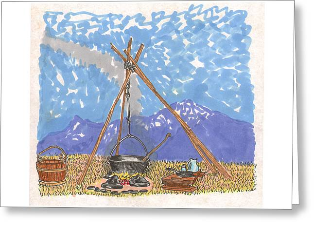 Concern Drawings Greeting Cards - Cowboy Campfire Greeting Card by Jack Pumphrey