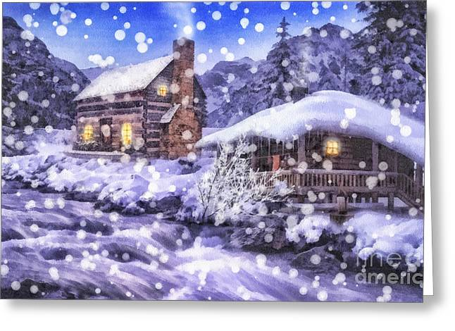 Beautiful Creek Greeting Cards - Winter Creek Greeting Card by Mo T