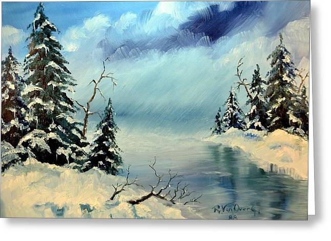 Storm Prints Pastels Greeting Cards - Winter Creek Greeting Card by Royce Van Over