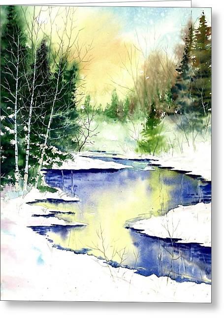 Award Winning Art Greeting Cards - Winter Creek Greeting Card by Steven Schultz