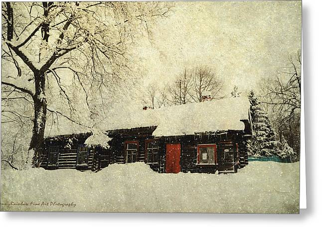 Cabin Window Greeting Cards - Winter Day at Countryside Greeting Card by Jenny Rainbow