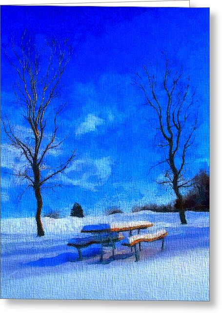Snowy Day Greeting Cards - Winter Day On Canvas Greeting Card by Dan Sproul