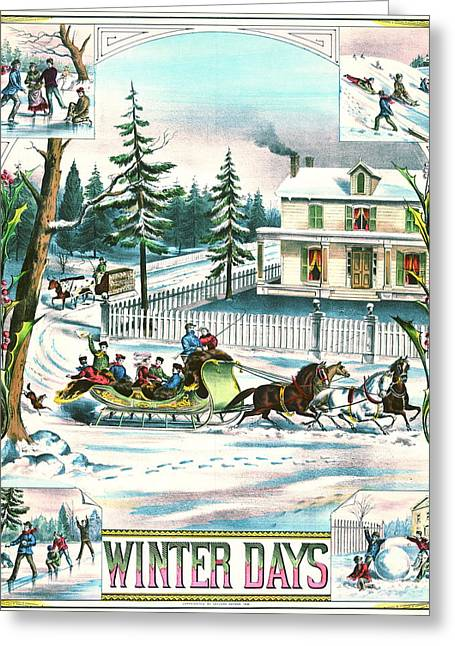 Sled.fence Greeting Cards - Winter Days 1881 Greeting Card by Padre Art