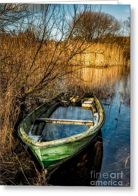Green Boat Greeting Cards - Winter Decay Greeting Card by Adrian Evans