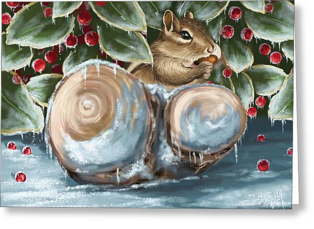 Squirrels Greeting Cards - Winter dinner Greeting Card by Veronica Minozzi