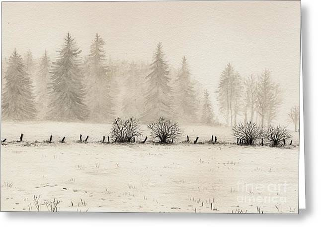 Foggy Landscape Greeting Cards - Winter Greeting Card by Dirk Dzimirsky