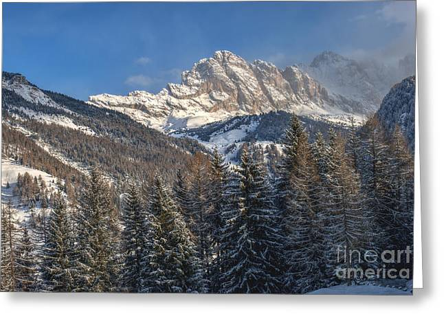 Mountain Valley Greeting Cards - Winter Dolomites Greeting Card by Martin Capek