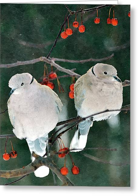 Fruit Tree Art Greeting Cards - Winter Doves Greeting Card by Betty LaRue