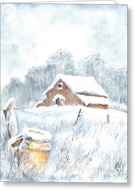 Snowstorm Framed Prints Greeting Cards - Winter Down On The Farm Greeting Card by Carol Wisniewski